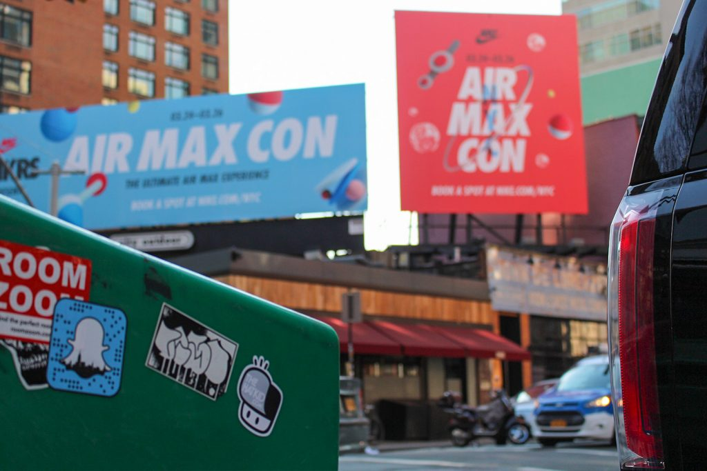 Street art New York City The Hat Kid Air Max Con