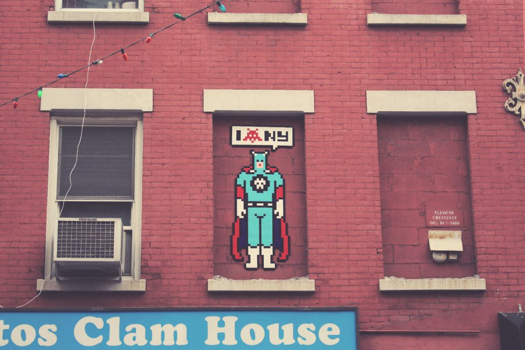 Street art New York City The Hat Kid Space Invaders