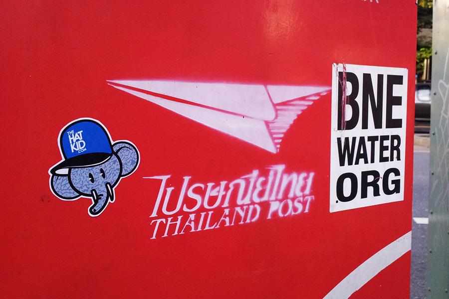 the hat kid street art Thailand stickers BNE