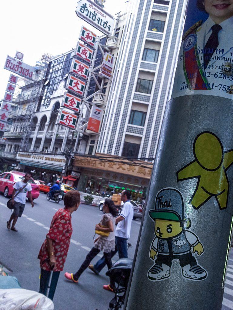 the hat kid street art Thailand stickers JACE