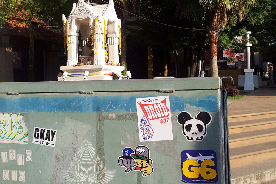the hat kid street art Thailand stickers MUE BON
